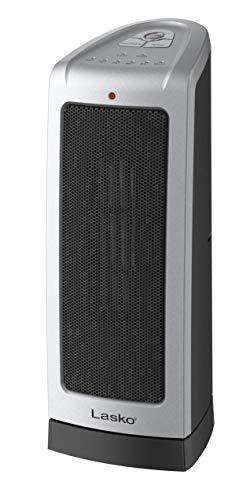 Lasko 5307Torre calefactora de cerámica oscilante, 40.6cm, 5309, Plateado/Negro, 1, 1