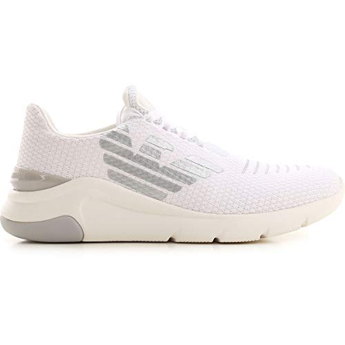 Emporio Armani EA7 X8 X059 XK140 Sneakers Knit Mesh Scarpe Uomo Tessuto White (Fraction_41_And_1_Third)