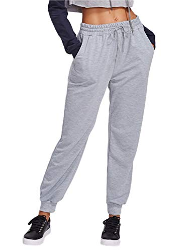 SweatyRocks Women's Drawstring Waist Athletic Sweatpants Jogger Pants with Pocket Solid Ligh Grey Small