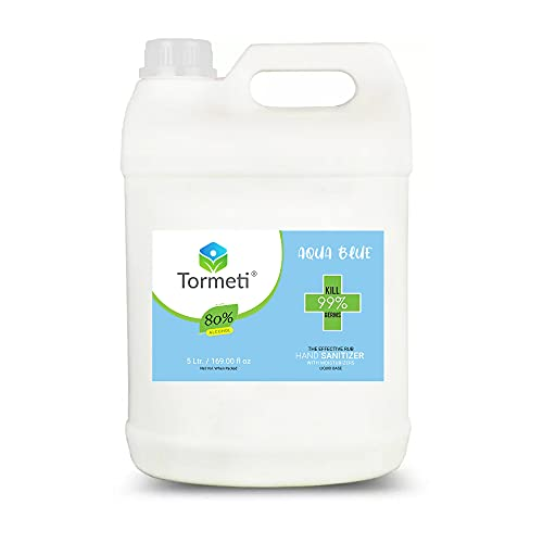 Tormeti Pure & Safe Hand Sanitizer 80% Alcohol Multi-Purpose Use, WHO Recommended 80% Alcohol Base Liquid Hand Sanitizer 5 Liter (Aqua Blue.) (Aqua Blue)