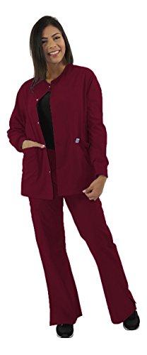 Spectrum Scrub Jackets Doctor Coat-Crew Neck Multi Pocket Unisex Uniforms L Wine