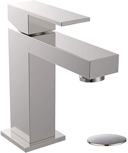 ALWEN Bathroom Faucet Brass, Single Hole Faucet for Bathroom, Single Faucet with Pop Up Drain Leadfree Touch on Bathroom Sink Faucet, Brushed Nickel