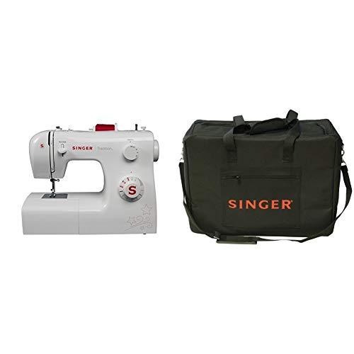 Singer 2250 Tradition - Máquina de coser mecánica, 10 puntadas, 43 x 22 x 35,2 cm, color blanco + Funda para máquina de coser, color negro