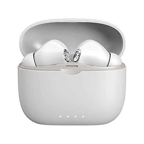 KUKU Auriculares Inalámbricos Bluetooth 5.0, Auriculares Manos Libres con Micrófono, Control Táctil, Auriculares con Reproducción Bluetooth Adecuados para Deportes, Fitness Y Entretenimiento,Blanco