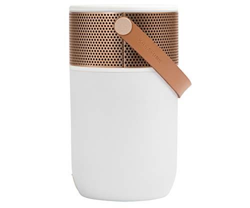 KREAFUNK Aglow Bluetooth-Lautsprecher mit Taschenlampe und Wecker, dänisches Design, Weiß/Roségold