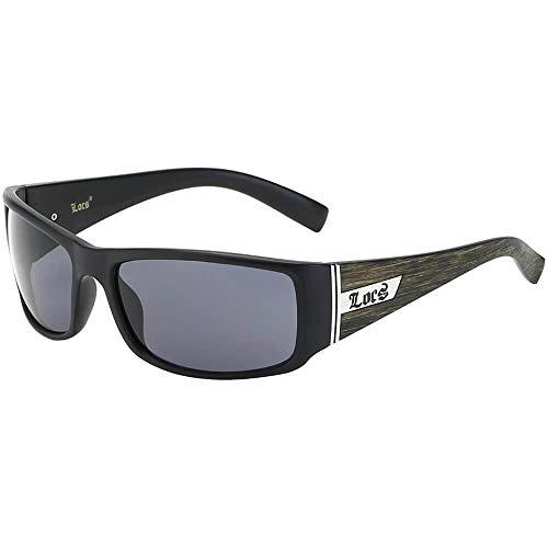 Locs Wood Grain Print Sunglasses Black Frame Silver Metal Accents UV400