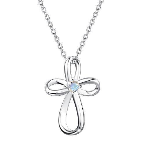 FANCIME White Gold Plated 925 Sterling Silver 0.13ct Moonstone June Birthstone Open Loop Celtic Cross Crucifix Infinity Pendant Necklace For Women Girls, 16' + 2' Extender
