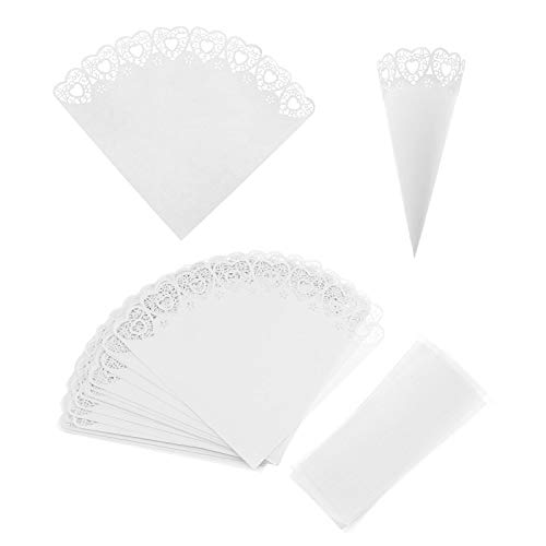 SING F LTD 25 Pcs Heart Wedding Favours Confetti Paper Cones Set with Double-Sided Stickers White