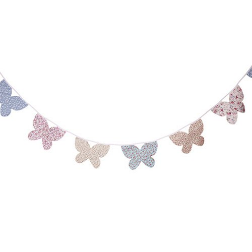 West5Products Floral Vintage Chic Butterfly Shaped Bunting (300cm)