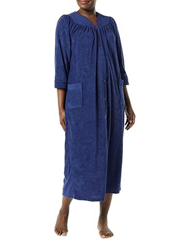AmeriMark Women's Terry Knit Long Robe – Bath Robe w/ Snap Front & Trapunto Trim Navy XL