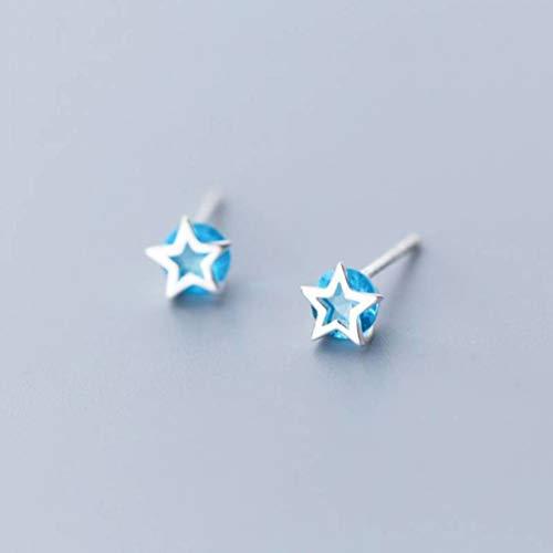 TYERY Pendientes de Plata S925, Estilo de Moda Coreano Femenino Pentagrama Diamante Azul Niña Corazón Pendientes Joyeríapendientes de plata s925