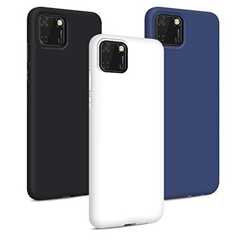 TVVT 3X Cover per Huawei Y5P, Ultra-Sottile Colore Silicone Morbido TPU Custodia Anti-Urto Anti-Graffio Cellulari Protezione Paraurti Leggero Case Cover - Blu Scuro, Bianco, Nero