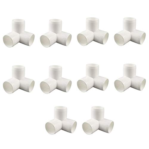 TONGXU 10PCS Conectores de PVC de 1/2 Pulgada de 3 Vías para Invierno Resistentes Accesorios de Codo de Montaje para Muebles Tubería DIY Bricolaje Color Blanco