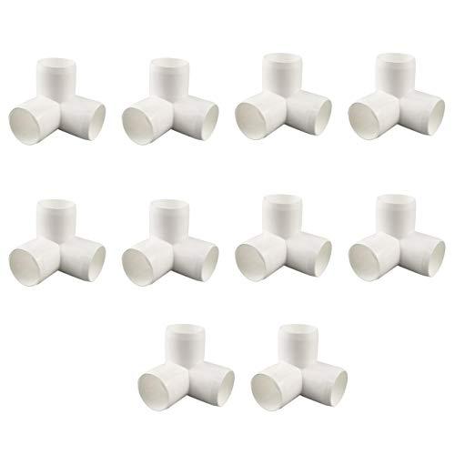 Tongxu 10 connettori in PVC da 1/2' a 3 vie per l'inverno, resistenti accessori per gomito di montaggio per mobili, tubi fai da te, bricolage, colore bianco