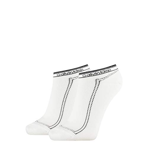 Calvin Klein Socks Womens Sneaker 2p Legwear Logo Kimmy Socks, White, ONE Size