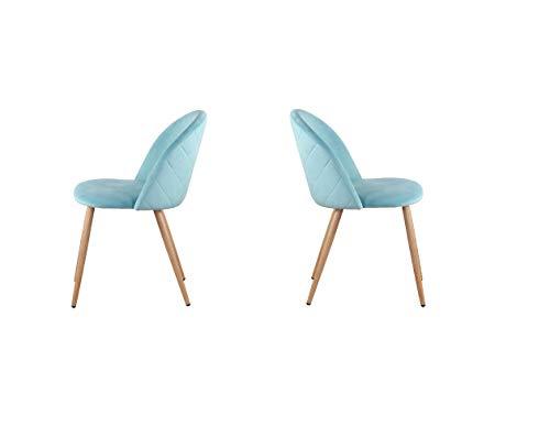 12365 Juego de 2 sillas de comedor modernas de terciopelo suave con patas de madera para sala de estar, ocio, dormitorio y bar (verde)