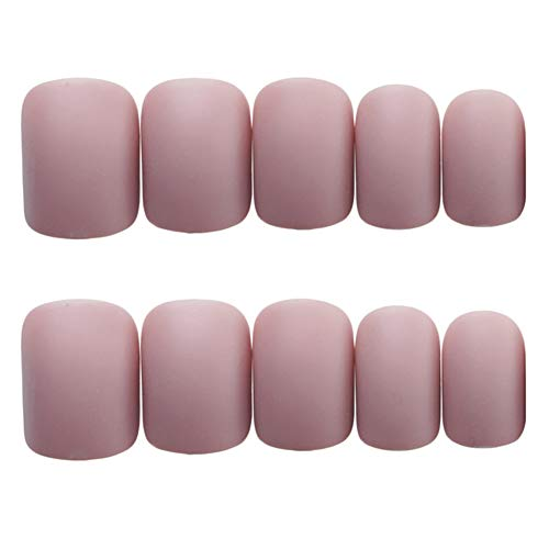 Sytaun 24Pcs Matte Schleifen Quadrat Fake Art Nails Faux Fingernägel Braut Maniküre TIPP Nagel Aufkleber Natural Bright Nails Graues Rosa