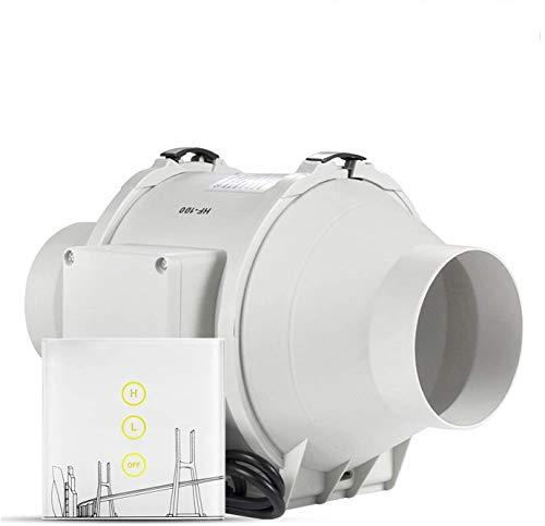 Ventilador Extractor 100mm, HG POWER Ventilador de tuberías con interruptor inteligente, Canal Ventilador, bajo consumo de energíaon, regulador de velocidad de dos velocidades