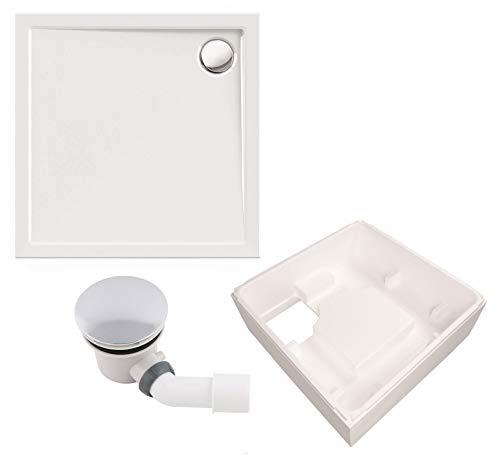 Calmwaters® - Modern Select - Acryl-Duschtasse in 90 x 90 cm im Komplettset mit Styroporträger und Ablaufgarnitur - 99000120