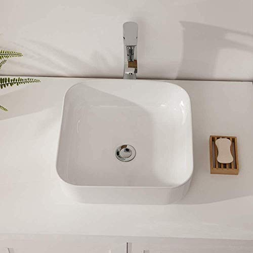 Buy Bargain Vessel Sink Rectangle - Sarlai 21 Modern Bathroom Vessel Sink Rectangle Above White Por...