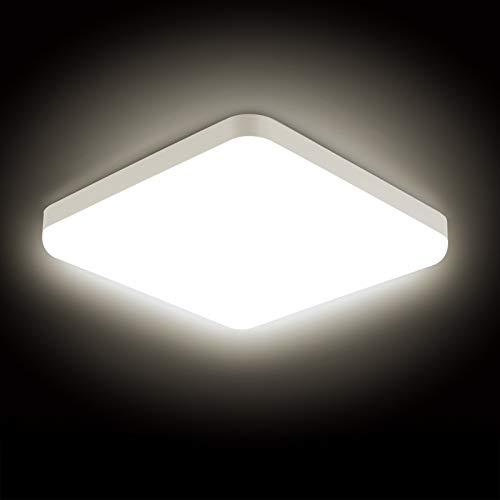 Combuh Plafonnier LED 30W Étanche IP56 2400LM Blanc Naturel 4000K Facile à Installer Square Lampe de Plafond pour Extérieur, Salle de Bain, Bureau, Balcon, Garage Ø25CM