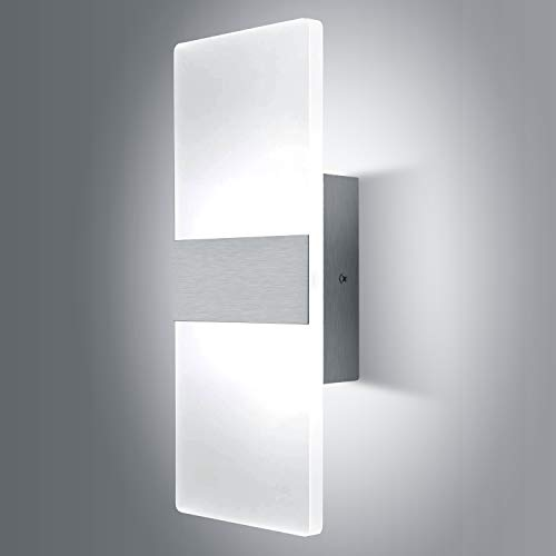 Lightess Modern Wall Sconce 12W Up Down Wall Lights Acrylic LED Wall Lamp for Hallway Bedroom Corridor, Cool White, HS521-1