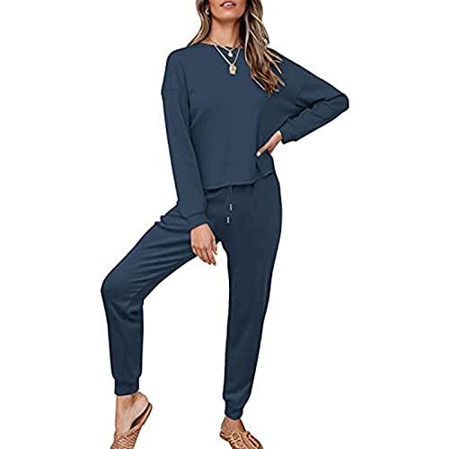 BaZhaHei Damen Einfarbig Bequem Freizeitanzug Mode O-Ausschnitt Loose Fit Sport Yoga Fitness Hosenanzug Sportanzug Traingsanzug Jogginganzug Tracksuit