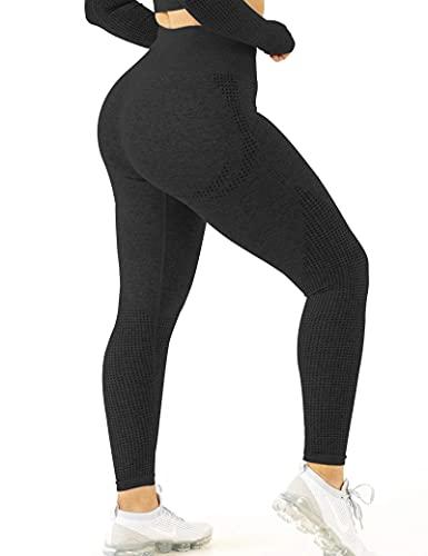 CLOUSPO Fitness Legging de Sport Femme Pantalon de Yoga Fitness Gym Taille Haute sans Couture Slim Push Up Butt Lifter Pants (Noir, L)