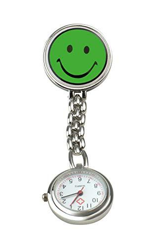 Pflegehome24 Schwesternuhr Smiley Pulsuhr Krankenschwesteruhr Kitteluhr Pflegeuhr mit Clip, (Grün)