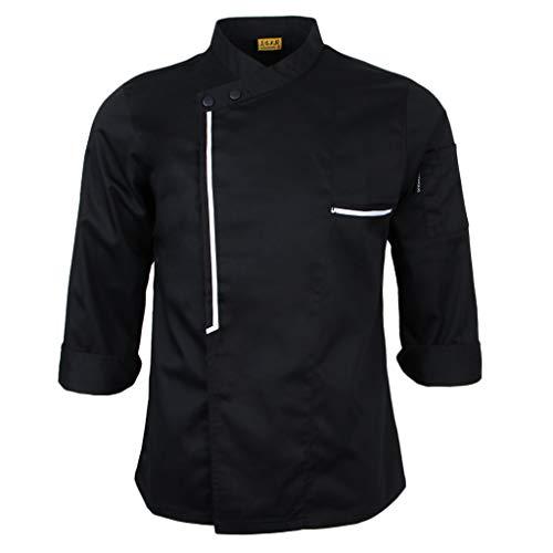 Hellery Blouse de Cuisinier Veste de Cuisine Femme Homme Manches Longues - Noir, M