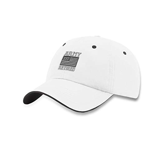 Speedy Pros Richardson Soft Running Hat Us Army Retired Embroidery Polyester Waterproof Baseball Cap Strap Closure White Charcoal