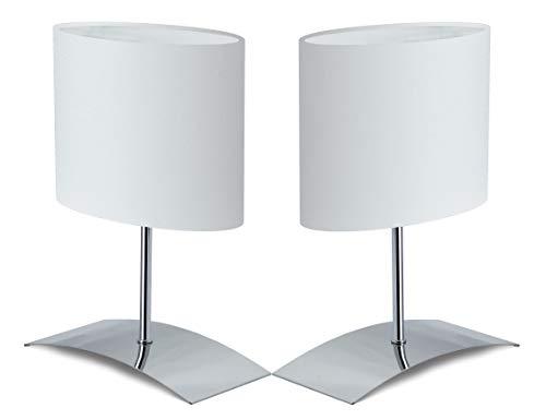 """Trango Paquete de 2 Lámpara de mesa, lámpara de noche, lámpara 2TG2018-04W""""WHITE HOUSE"""" con pantalla de tela en blanco - Longitud: 200 mm - Anchura: 100 mm - Altura: 300 mm"""