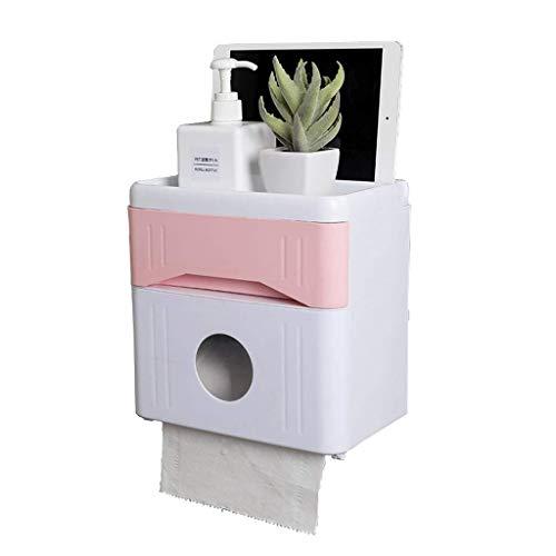 XXCHUIJU Caja de pañuelos de plástico Titular de la Caja de la Caja de la Caja Estante para la Cocina del baño, Soporte de Papel higiénico Punch-Free/Pink / 21.5 × 13.1 × 21.5cm