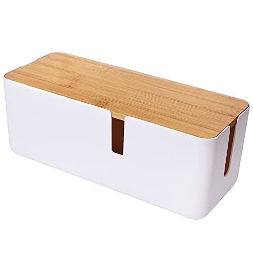 Changsuo Cable Management Box with Bamboo Lid Small Cable Organizer Box for Extension Cord Power Stripe Surge Protector Wire Management Concealer Organizer Cover Hider (White)