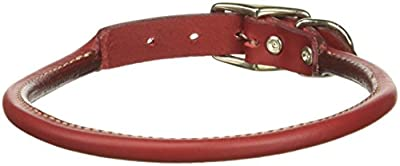 """Coastal Pet Products Circle T Oak Tanned Leather Round Dog Collar, 3/4"""" x 20"""", Red"""