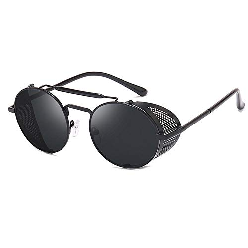 HETAIDA Sonnenbrille, runde Metallrahmen Polarisierte UV400 Schutzbrille, Retro Steampunk für Männer und Frauen (Black)