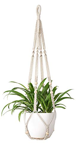 Mkono Macrame Plant Hangers Indoor Hanging Planter Basket with Wood Beads...