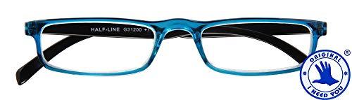 I NEED YOU HALF-LINE, G31200, Kunststoffbrille mit Federtechnik, blau-schwarz, 2 Dioptrien