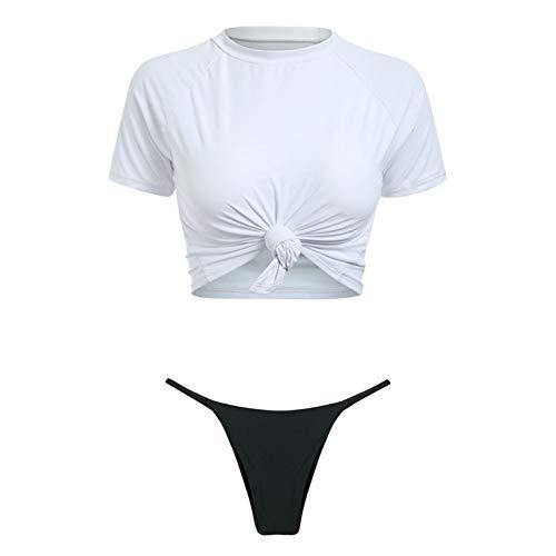QACFD Nœud Crop Top Bikini Léopard Maillots De Bain Femmes Maillots De Bain Push Up Maillot De Bain Femme T-Shirt String BikiniMaillot De Bain