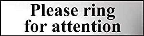"""Centurion 6021C Schild mit Aufschrift """"Please Ring For Attention"""", selbstklebend, PVC, Chromeffekt, 200 x 50 mm, Weiß"""
