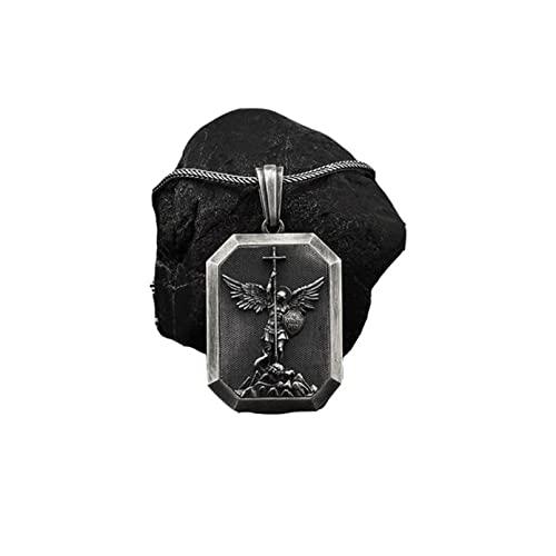 QLJYT Collar con Colgante de Ángel Guardián, Cadena de Hombre Vintage Colgantes Largos de Cadenas Acero Inoxidable