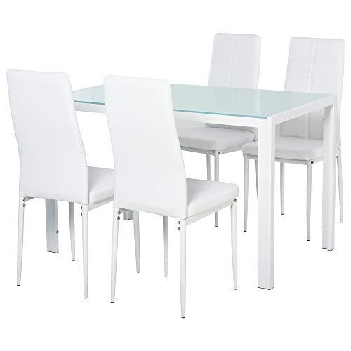 homcom Set 5 Pezzi con 1 Tavolo e 4 Sedie per Cucina o Sala da Pranzo in Similpelle, Metallo e Vetro Temperato, Bianco