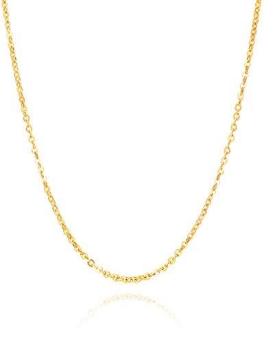 Nocciola Cadena de eslabones ovalados de oro de 24 quilates, fina cadena Rolo O Link, joya delicada para hombres y mujeres, incluye caja de regalo
