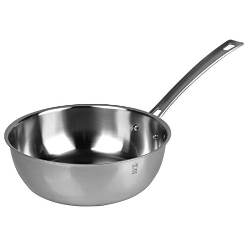 """Sitram Hotel, Restaurant, Catering, Riveted (HORECA R) Stainless Steel Sauté Pan, 9.45"""" Conical Skillet"""