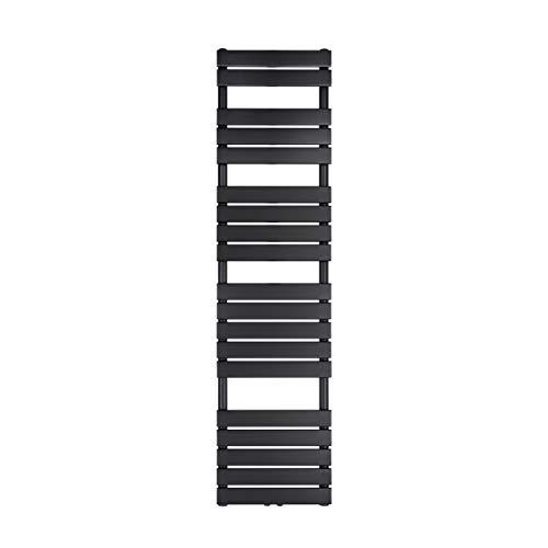 VILSTEIN Bad Heizkörper, Flach, Schwarz, Seitenanschluss und Mittelanschluss, 1800x450 mm