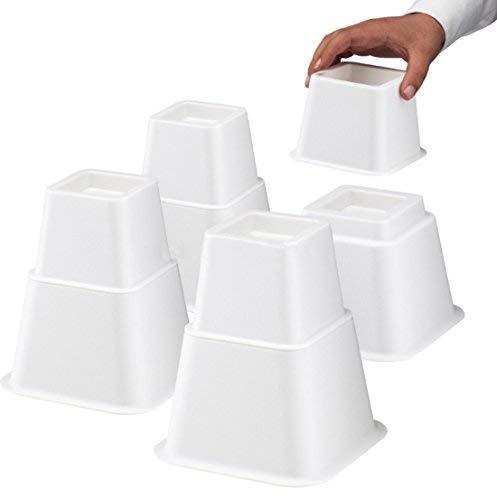 Design61 Möbelerhöher höhenverstellbar (3 Verschiedene Höhen) Betterhöhung Möbelerhöhung Tischerhöher Elefantenfuß Bed Riser 8St. (4 Hohe + 4 Kurze) für Füße bis 68x68 mm in Weiß