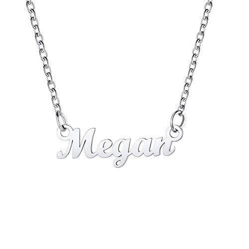 Necklace For Women Cheap Megan Pendant & Adjustable 18Inch Rolo Chain, SCRIPT MT BLOOD Font, Present For Girlfriend, Stainless Steel Nameplate Jewellery Megan Chain For Girls Name Necklace (Gift Box)