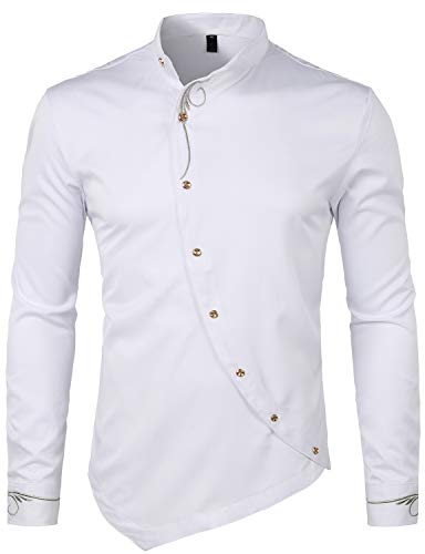 Whatlees Mens Hipster Casual Slim Fit Long Sleeve Button Down Dress Shirts Tops with Embroidery T21-White Medium