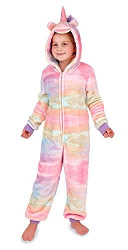 LD Outlet - Pigiama intero per donne e ragazze, maniche lunghe, in pile, con cappuccio, funge anche da accappatoio Unicorno arcobaleno. M