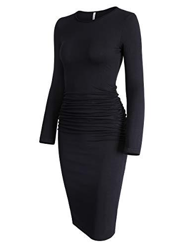 Missufe Women's Long Sleeve Ruched Casual Sundress Midi Bodycon Sheath Dress (Black, X-Large)